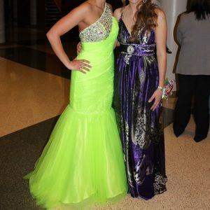 Jovani Neon One Shoulder Mermaid Prom Dress